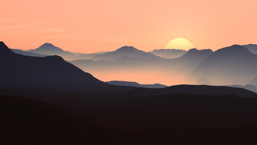 הרים ושקיעה